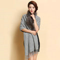 Luxury Long Wool Diamond Shawls Racoon Dog Fur Scarf Women Winter Thicken Tassels Poncho - Gray
