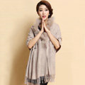 Luxury Long Wool Diamond Shawls Racoon Dog Fur Scarf Women Winter Thicken Tassels Poncho - Nude
