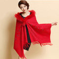 Luxury Long Wool Diamond Shawls Racoon Dog Fur Scarf Women Winter Thicken Tassels Poncho - Red