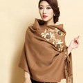 Top Grade Jacquard Flower Long Wool Shawls Scarf Women Winter Thicken Tassels Cape - Coffee