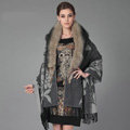 Top Grade Jacquard Peony Wool Shawls Whole Fox Fur Scarf Women Pashmina Thicken Tassels Cape - Gray