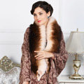 Top Grade Jacquard Weave Wool Shawls Whole Fox Fur Scarf Women Pashmina Thicken Tassels Cape - Coffee