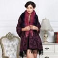 Top Grade Jacquard Weave Wool Shawls Whole Fox Fur Scarf Women Pashmina Thicken Tassels Cape - Purple