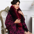 Top Grade Jacquard Weave Wool Shawls Whole Fox Fur Scarf Women Pashmina Thicken Tassels Cape - Rose