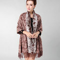 Top Grade Jacquard Weave Wool Thicken Shawls Rex Rabbit Fur Scarf Women Pashmina Cape - Coffee