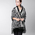 Top Grade Jacquard Weave Wool Thicken Shawls Rex Rabbit Fur Scarf Women Pashmina Cape - Gray