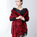 Top Grade Jacquard Weave Wool Thicken Shawls Rex Rabbit Fur Scarf Women Pashmina Cape - Red