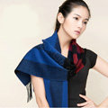 Top Grade Long Lattice Wool Scarf Women Winter Thicken Cashmere Tassels Shawls - Blue