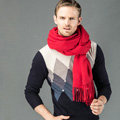Top Grade Long Solid Color Wool Scarf Man Winter Thicken Cashmere Large Tassels Muffler - Red
