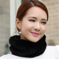 Top Grade Mink Fur Scarf Women Winter Warm Neck Wrap Knitted Fur Collar - Black