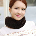 Top Grade Mink Fur Scarf Women Winter Warm Neck Wrap Knitted Fur Collar - Coffee