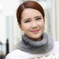 Top Grade Mink Fur Scarf Women Winter Warm Neck Wrap Knitted Fur Collar - Gray