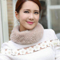 Top Grade Mink Fur Scarf Women Winter Warm Neck Wrap Knitted Fur Collar - Pink