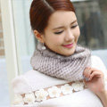 Top Grade Mink Fur Scarf Women Winter Warm Neck Wrap Knitted Fur Collar - White