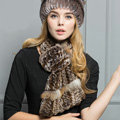 Top Grade Rex Rabbit Fur Scarf Women Winter Neck Wrap Knitted Fishtail Fur Muffler - Coffee