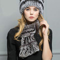 Top Grade Rex Rabbit Fur Scarf Women Winter Neck Wrap Knitted Fishtail Fur Muffler - Gray