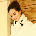Top Grade Short Knitted Rex Rabbit Fur Scarf Women Winter Thicken Fur Collar - Black White
