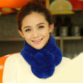 Top Grade Short Knitted Rex Rabbit Fur Scarf Women Winter Thicken Fur Collar - Blue