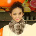 Top Grade Short Knitted Rex Rabbit Fur Scarf Women Winter Thicken Fur Collar - Brown White