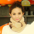 Top Grade Short Knitted Rex Rabbit Fur Scarf Women Winter Thicken Fur Collar - Brown Yellow