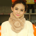 Top Grade Short Knitted Rex Rabbit Fur Scarf Women Winter Thicken Fur Collar - Camel