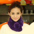 Top Grade Short Knitted Rex Rabbit Fur Scarf Women Winter Thicken Fur Collar - Dark Purple