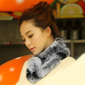Top Grade Short Knitted Rex Rabbit Fur Scarf Women Winter Thicken Fur Collar - Gray+Black