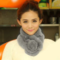 Top Grade Short Knitted Rex Rabbit Fur Scarf Women Winter Thicken Fur Collar - Light Gray