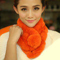Top Grade Short Knitted Rex Rabbit Fur Scarf Women Winter Thicken Fur Collar - Orange