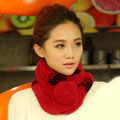Top Grade Short Knitted Rex Rabbit Fur Scarf Women Winter Thicken Fur Collar - Red+Black