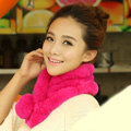 Top Grade Short Knitted Rex Rabbit Fur Scarf Women Winter Thicken Fur Collar - Rose