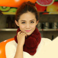 Top Grade Short Knitted Rex Rabbit Fur Scarf Women Winter Thicken Fur Collar - Winered