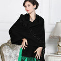 Top Grade Solid Color Long Wool Shawls Cashmere Scarf Women Winter Thicken Tassels Cape - Black