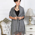 Top Grade Solid Color Long Wool Shawls Cashmere Scarf Women Winter Thicken Tassels Cape - Gray