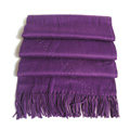 Top Grade Solid Color Long Wool Shawls Cashmere Scarf Women Winter Thicken Tassels Cape - Purple