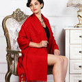 Top Grade Solid Color Long Wool Shawls Cashmere Scarf Women Winter Thicken Tassels Cape - Red