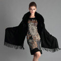 Top Grade Solid Color Wool Shawls Whole Fox Fur Scarf Women Cashmere Thicken Tassels Cape - Black