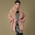 Top Grade Solid Color Wool Shawls Whole Fox Fur Scarf Women Cashmere Thicken Tassels Cape - Camel