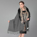 Top Grade Solid Color Wool Shawls Whole Fox Fur Scarf Women Cashmere Thicken Tassels Cape - Dark Gray