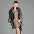 Top Grade Solid Color Wool Shawls Whole Fox Fur Scarf Women Cashmere Thicken Tassels Cape - Gray