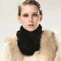 Top Grade Whole Rabbit Fur Scarf Women Winter Warm Neck Wrap Knitted Fur Ball Collar - Black