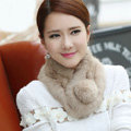 Top Grade Whole Rabbit Fur Scarf Women Winter Warm Neck Wrap Knitted Fur Ball Collar - Camel