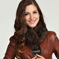 Top Grade Whole Rabbit Fur Scarf Women Winter Warm Neck Wrap Knitted Fur Ball Collar - Coffee