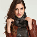 Top Grade Whole Rabbit Fur Scarf Women Winter Warm Neck Wrap Knitted Fur Ball Collar - Gray