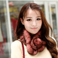 Top Grade Whole Rabbit Fur Scarf Women Winter Warm Neck Wrap Knitted Fur Ball Collar - Light Red