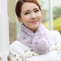 Top Grade Whole Rabbit Fur Scarf Women Winter Warm Neck Wrap Knitted Fur Ball Collar - Purple