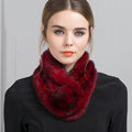 Top Grade Whole Rabbit Fur Scarf Women Winter Warm Neck Wrap Knitted Fur Ball Collar - Red