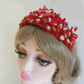 Beautiful Red Crystal beads Bridal Crown Hairwear Lace Flower Hair Headband Wedding Hair Accessories