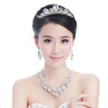 Beautiful Wedding Jewelry Sets for Bridal Crystal Flowers Tiara & Earrings & Rhinestone Necklace