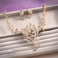 Classic Gold Plated Wedding Bridal Jewelry Butterfly Peacock Crystal Necklace Earrings Sets